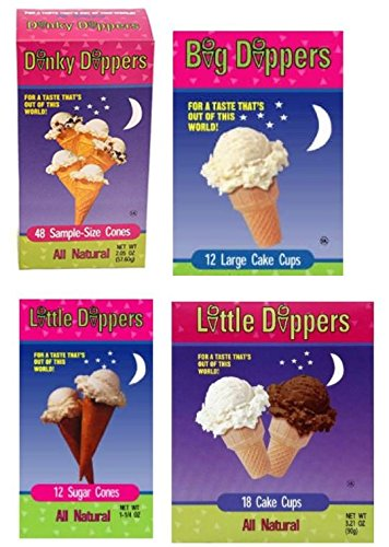 Mini Ice Cream (Dinky Dippers Family Pack: Dinky Dippers Mini Cones 48ct 2.05oz, Little Dippers Sugar Cones 12ct 6oz, Little Dippers Cake Cups 18ct 3.21oz, and Big Dipper Large Cake Cup 12ct 2.57oz (1 of each))