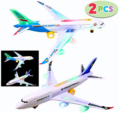 - 2 Electric Airplane Toys Air BOU A380 & Boeing 787, Bump N' Go with Flash Lights and Sounds for Toddler, Kids and Children Aircraft, School Classroom Prize, Toys Gift for Boys and Girls Age 2 and Up