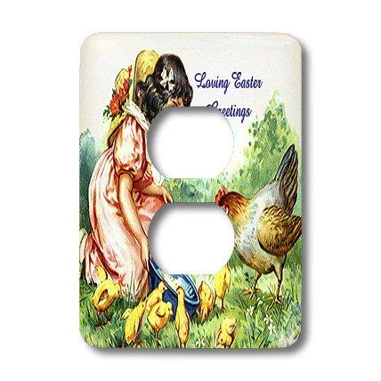 3dRose LLC LSP 42962_ 6alimentación bebé pollitos y gallo 2enchufe Outlet Cover
