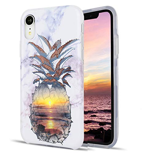 iPhone XR Case Golden Floral Pineapple Beach Marble Pattern Dual Layer Clear Soft TPU Hard PC Shockproof Phone Cases for Women Girls Men -