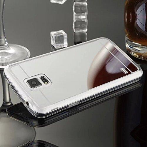 Funda Cover Samsung Galaxy S5,Ukayfe Funda 360 Doble Delantera + Trasera Gel Transparente Silicona Gel para Samsung Galaxy S5,Samsung Galaxy S5 Crystal Centelleo Cover Funda caja del gel TPU Silicona  Plata 3#