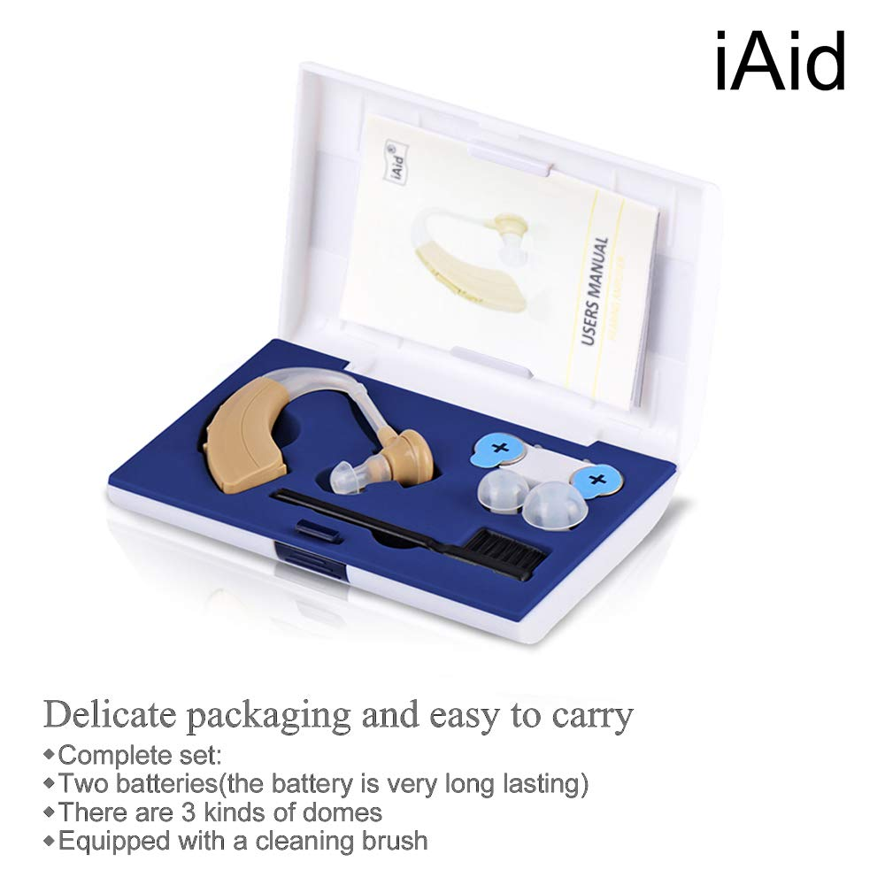 Digital Hearing Amplifier Aid - FDA Approved Personal Sound Device with 2Pcs 500hr Batteries, 4 Channels Noise Reduction, Hearing Aid Cleaning Kit for Adults and Seniors by iAid