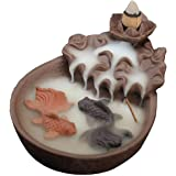 Fish Pond Backflow Incense Burner, Handmade Ceramic Backflow Incense Cone Sticks Holder Home Decor Porcelain with Two Fish an