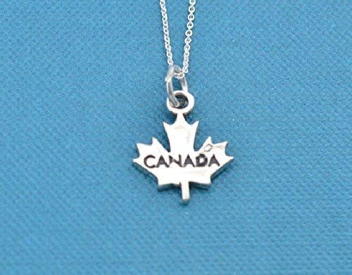 """Girls, teens or womans Canadian maple leaf necklace in sterling silver on an 18"""" sterling silver box chain."""