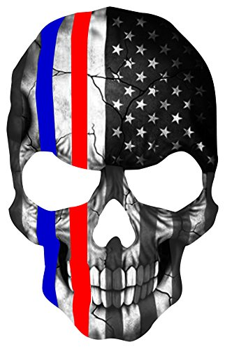 "Red and Blue Skull Subdued Thin Blue and Red Line American Flag Sticker. 6 x 4"" inch Reflective Police Support Decal"