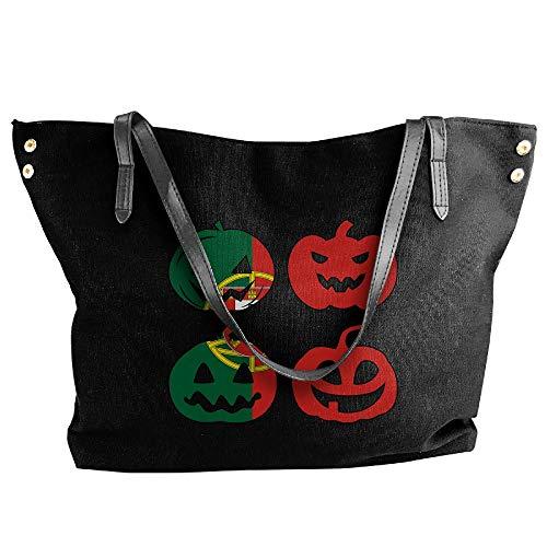 Women's Canvas Handbag Black Portugal Halloween Tote Large Tote Handbag Pumpkin Shoulder Hobo Head Bag ffdvrqwS