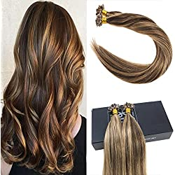 "Sunny 14"" Remy Flat Tip Hair Extensions Dark Brown Highlight Blonde Pre Bonded Human Hair Extensions Fusion Hair Extensions"