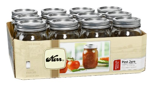 12 Regular Mouth Lids (Kerr 503 Regular Mouth Jars with Lids and Bands, 16-Ounce, Set of 12)