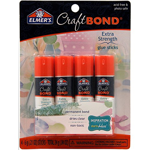 Elmer's E4016 CraftBond Extra Strength Glue Sticks, 4 Sticks per Pack, 6 Grams per Stick, Clear
