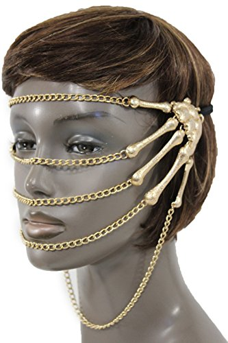 TFJ Women Sexy Halloween Half Face Eye Mask Costume Metal Skeleton Hands Chains Gold ()
