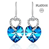 Heart Shape Earring PLATO H Heart of Ocean Blue Earrings Love Heart Hooks Drop Dangle Earring with Swarovski Crystals, Woman Fashion Jewelry Earring Gift, Ocean Blue