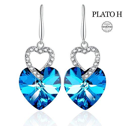 Heart Shape Earring PLATO H Heart of Ocean Blue Earrings Love Heart Hooks Drop Dangle Earring with Swarovski Crystals, Woman Fashion Jewelry Earring Gift, Ocean Blue (Sapphire Earrings Blue Swarovski)