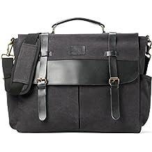Laptop Messenger bag, Business Briefcase Bag, Genuine Leather Canvas Satchel Vintage Computer Bag, Office Work Shoulder Bag for Men