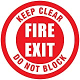 Keep Clear Fire Exit Do Not Block Red Anti-Slip Floor Sticker Decal 17 in longest side