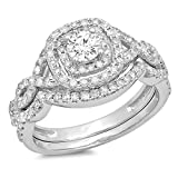 1.00 Carat (ctw) 14K Gold Round Cut White Diamond Swirl Bridal Split Shank Halo Engagement Ring Set 1 CT
