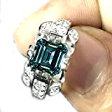 RINGJEWEL 2.77 ct VS1 Emerald Moissanite Engagement Silver Plated Ring Blue Green Color Size 7