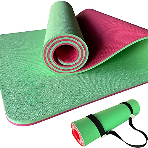 Feetlu Exercise Yoga Mat-2/5 Inch (10MM) Extra Thick Non-Slip Workout Mats with Carry Strap for All-Purpose Women Men…