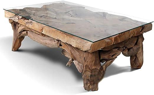 dasmöbelwerk Wurzelblock Tisch Couchtisch Wurzelholz Teak Rustikal Massiv Beistelltisch mit Glasplatte