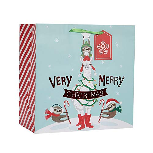 "Very Merry Llama Sloths Large Square Merry Christmas Gifting Gift Bag 15"" x 15"""