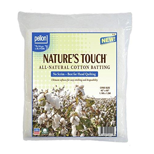 "Pellon N-45 Nature's Touch 100% Natural Cotton Batting, No Scrim - Crib 45"" X 60"""