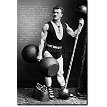 """Bodybuilding Motivational Poster 14 """"A well built physique..."""" Photo Print Art Motivation Quote Gift 12x8 Inches Inspiration Bodybuild Weightlifting Arnie Body Weights Strong Man Gym Strength Training"""