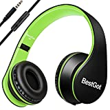 [Upgraded version] BestGot Wired Headphones Over Ear for Kids Boys Adult with Microphone In-line Volume With Transport Bag Foldable Headphones with 3.5mm plug removable cord (Black/Green)