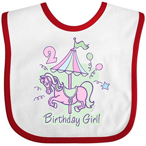 Inktastic Baby Girls' Carousel 2nd Birthday Baby Bib One Size White/Red