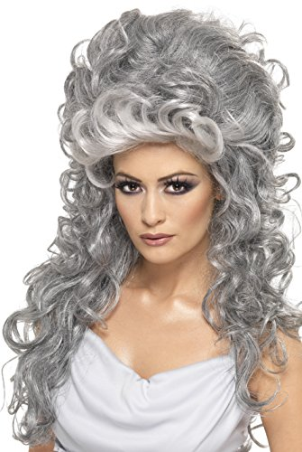 Smiffy's Women's Long and Curly Grey Beehive Wig, One Size, Medeia Witch Beehive Wig,  (2)