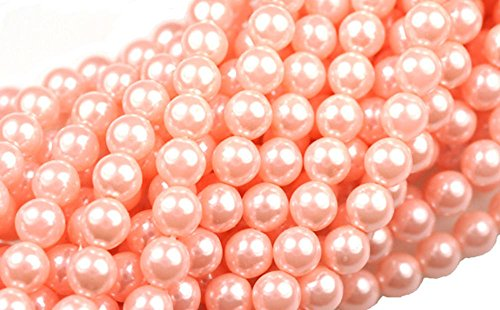 75 Coral Blush Pink Czech Glass Round Pearl Beads for Jewelr