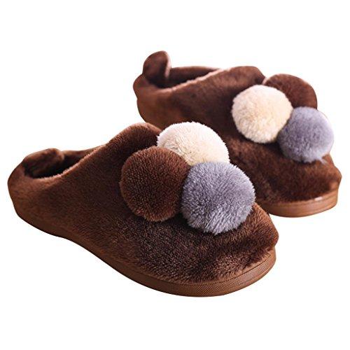 ALUK-Hiver glissade d'intérieur à fond épais pantoufles en coton à la maison pantoufles paternité mignonne