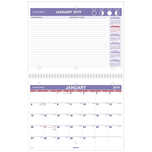 AT-A-GLANCE PM17028-18 Monthly Desk / Wall Calendar, January 2019 - December 2019, 8-1/2