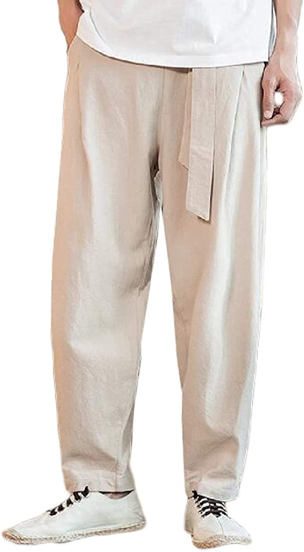 Cromoncent Mens Elastic Waist Trousers Casual Capri Harem Loose Pants