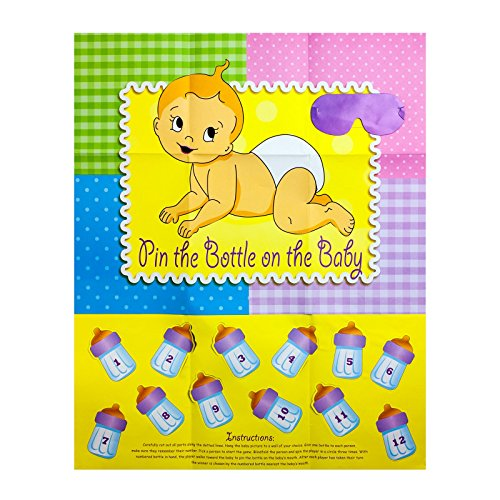 Adorox Baby Shower Party Game (Pin the Bottle or Pacifier on the Baby) Poster (1pkg) (Pin the Bottle (1 pk))