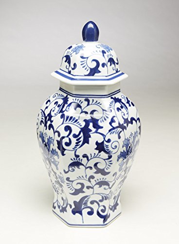 AA Importing 59805 14 Inch Hexagon Blue & White Ginger Jar