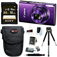 Canon PowerShot ELPH 360 HS Digital Camera (Purple) w/ Sony 16GB SD Card & Focus Accessory Bundle from Canon