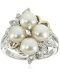 Sterling Silver and 14k Yellow Gold Freshwater Cultured Pearl (6 mm) and Diamond Cluster Ring (0.04 cttw, I-J Color, I3 Clarity)