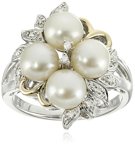 - Sterling Silver and 14k Yellow Gold 6mm Freshwater Cultured Pearl and Diamond Cluster Ring, Size 7