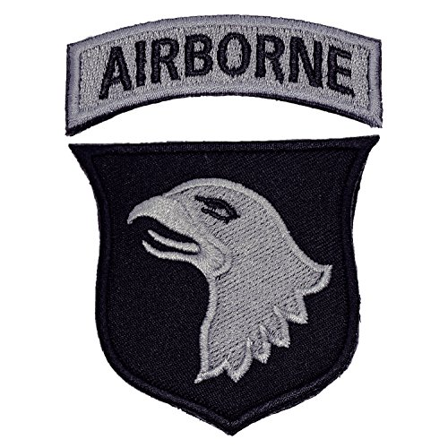 U-Lian 101st Airborne Patch Screaming Eagles Embroidered Applique Badge Sign Costume Paratrooper Shoulder Patch with Hook&Loop Fastener Backing (Airborne-Black+greySilver) ()
