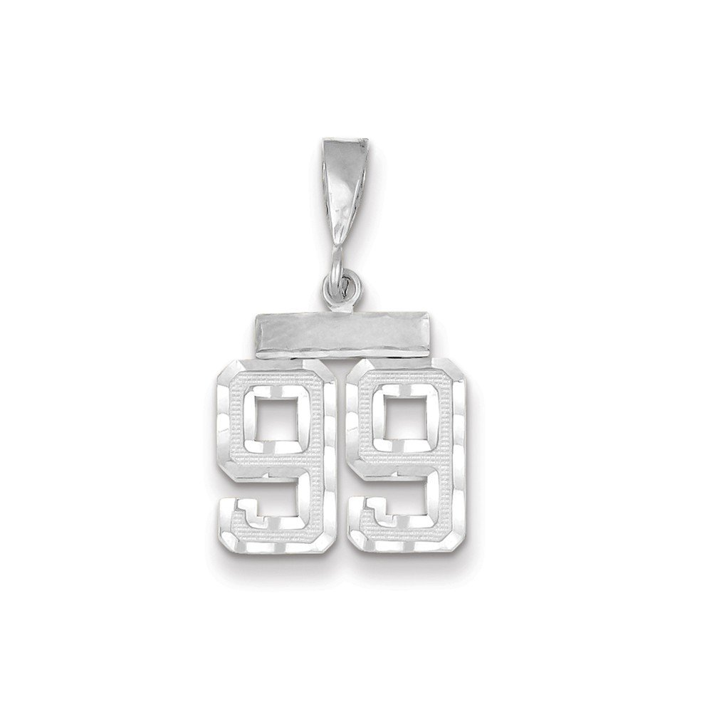 14K White Gold Small Shiny-Cut Number 99 Charm
