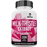 EBYSU Milk Thistle Extract - 200 Day Supply 1000mg Max Strength Seed Extract with Silymarin. Liver Cleanse Supplement Detoxifies, Helps Boost Immune System & Supports Weight Loss. Non-GMO Capsules