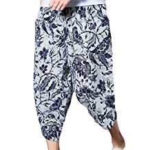 LEISHOP Men's Boho Print Floral Capris Hawaiian Board Mini Shorts