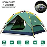 Hewolf Camping Tent 3-4 Person [Instant Tent] Waterproof [Double Layer] [Quick Setup] 3 Season Family Beach Tent UV Protection Carry Bag