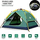 4 person 3 season tent - Hewolf Camping Tent 3-4 Person Instant Tent Waterproof Double Layer Quick Setup 3 Season Family Beach Tent UV Protection with Carry Bag