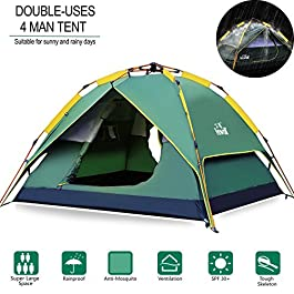 Hewolf Camping Tent Instant Setup – Waterproof Pop up Lightweight Easy up Tent Fast Pitch 3 Man Tent for Camping Backpacking