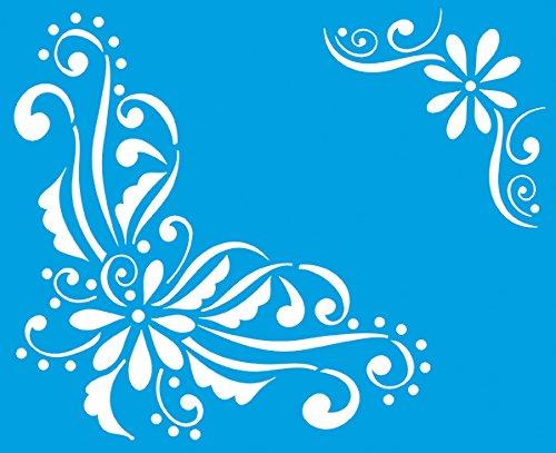 21cm x 17cm Stencil di Plastica per Decorazione Parete Muro Tessuto Maglietta Aerografo Progettazione Disegno Grafica - Primavera Estate Fiori Foglie Piante Verdi Giardino Litoarte CAD-STM-050