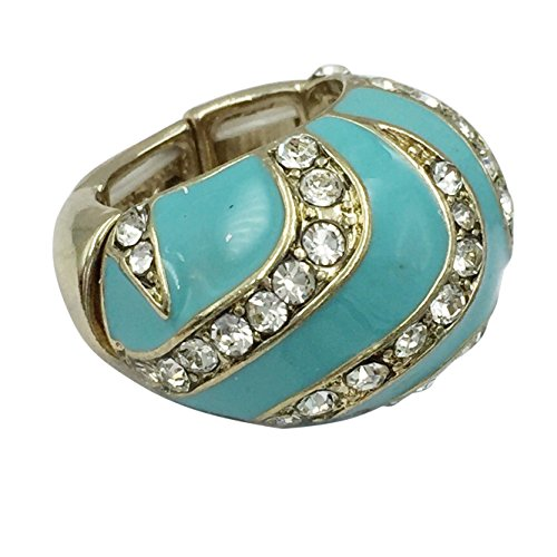 Gypsy Jewels Large Abstract Rhinestone Statement Big Stretch Cocktail Ring (Light Aqua Blue Gold Tone Stripe Dome)