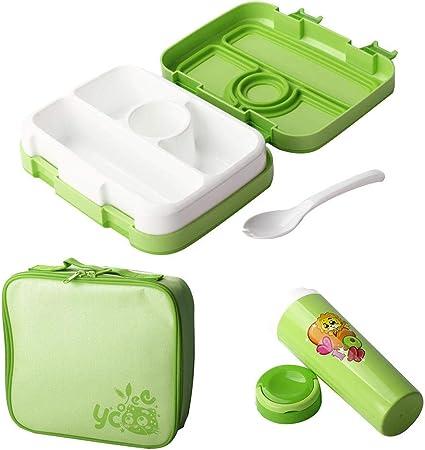 Welltobuy Bento Box para niños Lonchera para niños Contenedor de Almacenamiento de Alimentos Caja de empaque de Comida y merienda a Prueba de Fugas con Juego de Tazas para Acampar Picnic: Amazon.es: