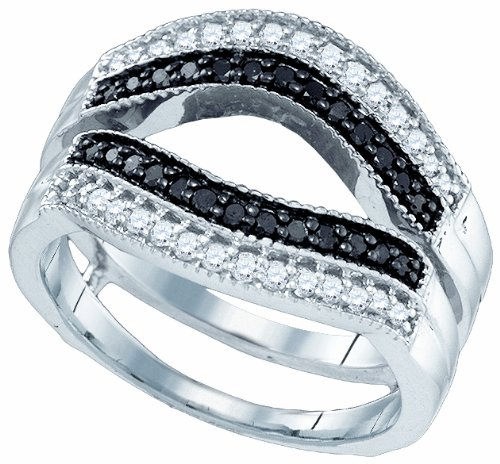 10k White Gold 0 19 Ct Solitaire Enhancer Diamonds Ring: 10K White Gold 0.55 Ct Black White Diamond Engagement Ring