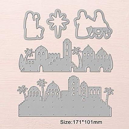 Animal Castle Landscape Set-Metal Cutting Dies Clear Stamp Stencil DIY Handmade