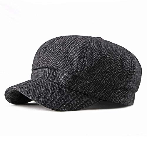 Military Tweed Hat - Hat Tweed Octagonal Harris Baker Hat 8 Panel Gatsby Ivy Irish Flat Cap Unisex Herringbone Newsboy Cap llhyq (Color : 2, Size : Free Size)